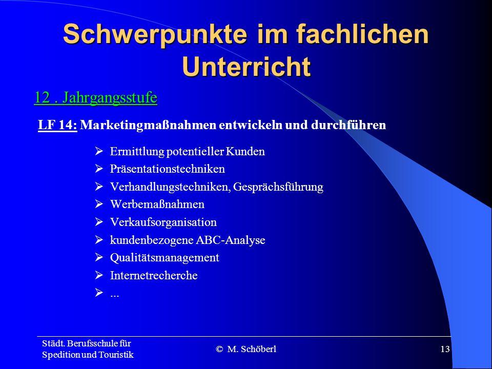 Städt. Berufsschule für Spedition und Touristik © M. Schöberl12 Schwerpunkte im fachlichen Unterricht 12. Jahrgangsstufe Verbrauchsfolge und –häufigke