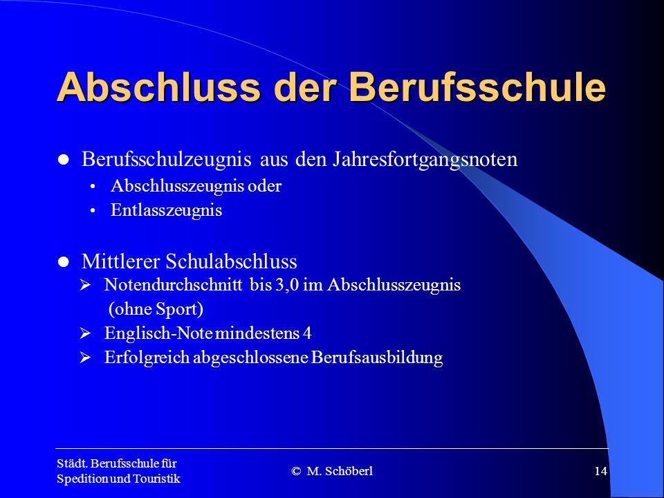 Städt. Berufsschule für Spedition und Touristik © M. Schöberl13 Schwerpunkte im fachlichen Unterricht 12. Jahrgangsstufe Ermittlung potentieller Kunde