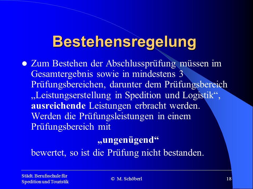 Städt. Berufsschule für Spedition und Touristik © M. Schöberl17 IHK - Abschlussprüfung mündlich Fallbezogenes Fachgespräch max. 50 Minuten, davon ca.