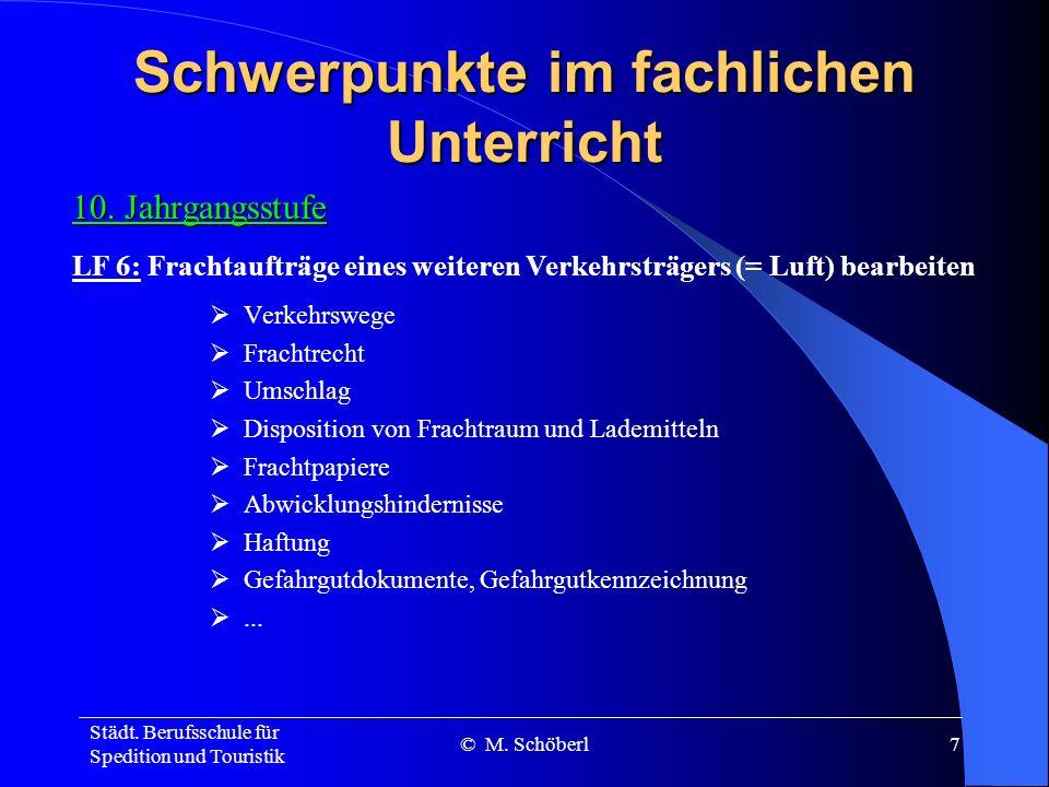 Städt. Berufsschule für Spedition und Touristik © M. Schöberl6 Schwerpunkte im fachlichen Unterricht 10. Jahrgangsstufe Vorlauf, Hauptlauf, Nachlauf G