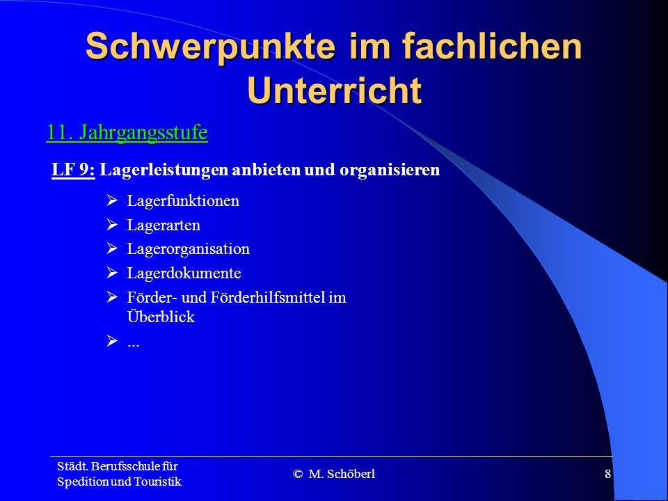Städt. Berufsschule für Spedition und Touristik © M. Schöberl7 Schwerpunkte im fachlichen Unterricht 10. Jahrgangsstufe Verkehrswege Frachtrecht Umsch