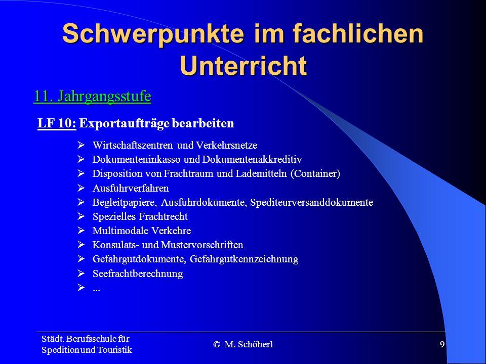 Städt. Berufsschule für Spedition und Touristik © M. Schöberl19 Vielen Dank für Ihr Interesse!