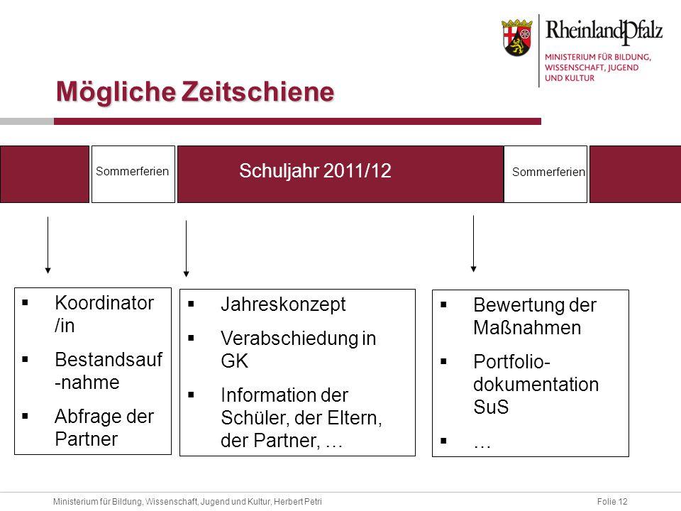 Folie 12Ministerium für Bildung, Wissenschaft, Jugend und Kultur, Herbert Petri Mögliche Zeitschiene Schuljahr 2011/12 Sommerferien Koordinator /in Be
