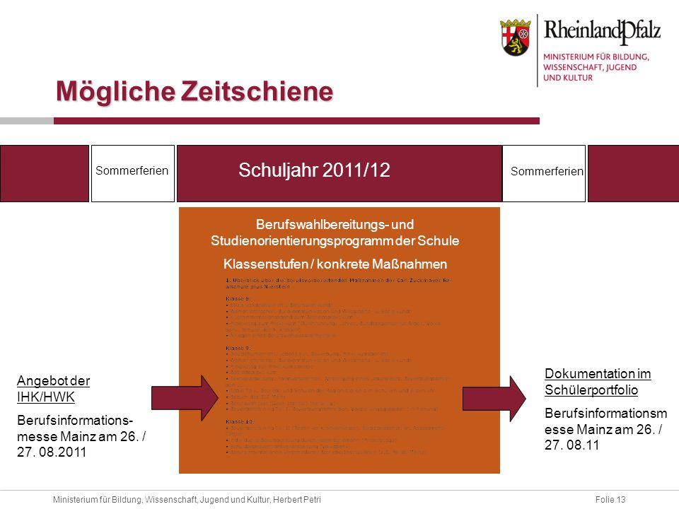 Folie 13Ministerium für Bildung, Wissenschaft, Jugend und Kultur, Herbert Petri Mögliche Zeitschiene Schuljahr 2011/12 Sommerferien Berufswahlbereitun