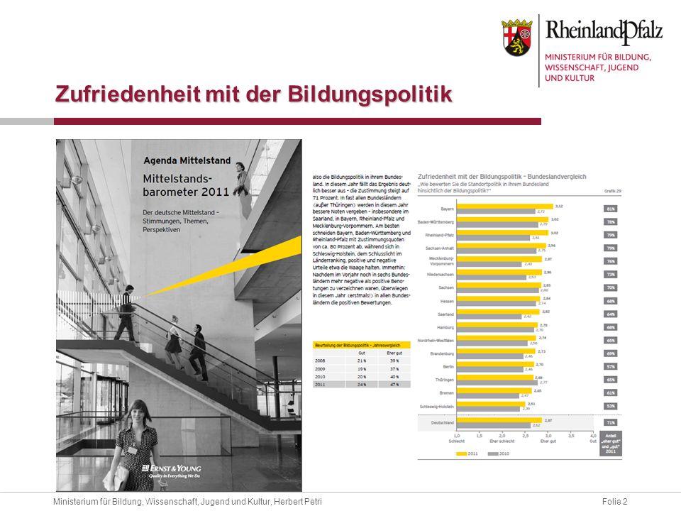 Folie 2Ministerium für Bildung, Wissenschaft, Jugend und Kultur, Herbert Petri Zufriedenheit mit der Bildungspolitik
