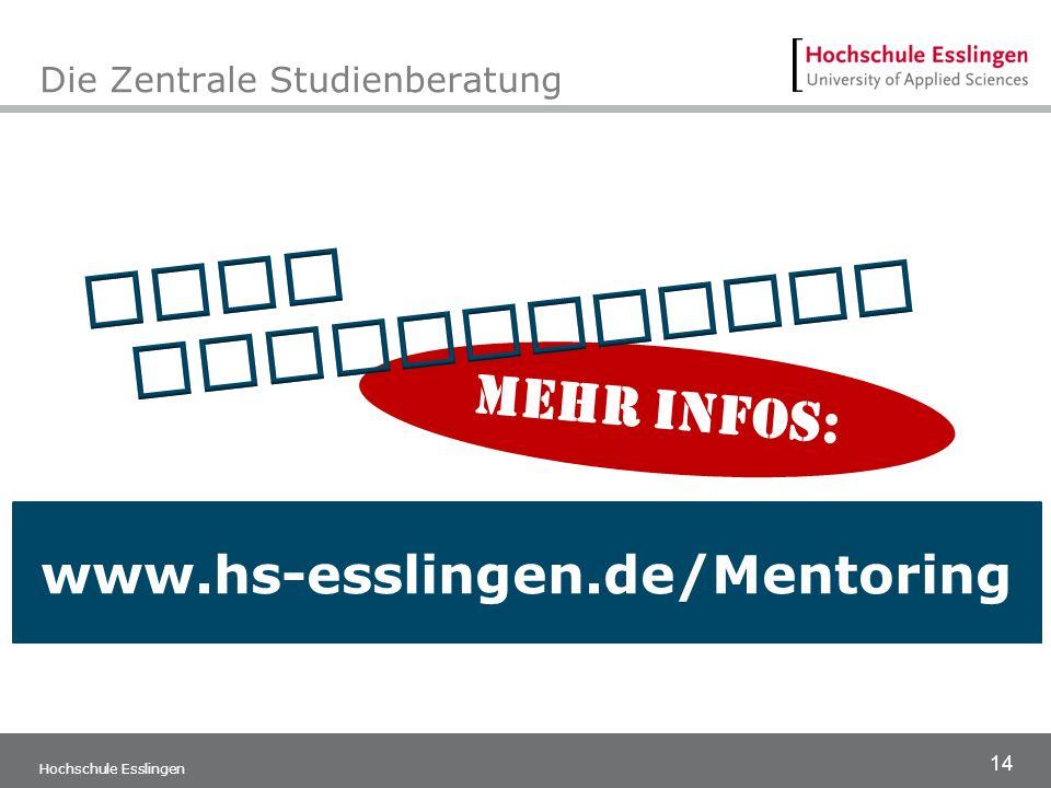 14 Hochschule Esslingen Die Zentrale Studienberatung www.hs-esslingen.de/Mentoring mehr Infos: