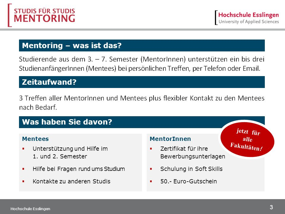 3 Hochschule Esslingen Mentoring – was ist das. Zeitaufwand.