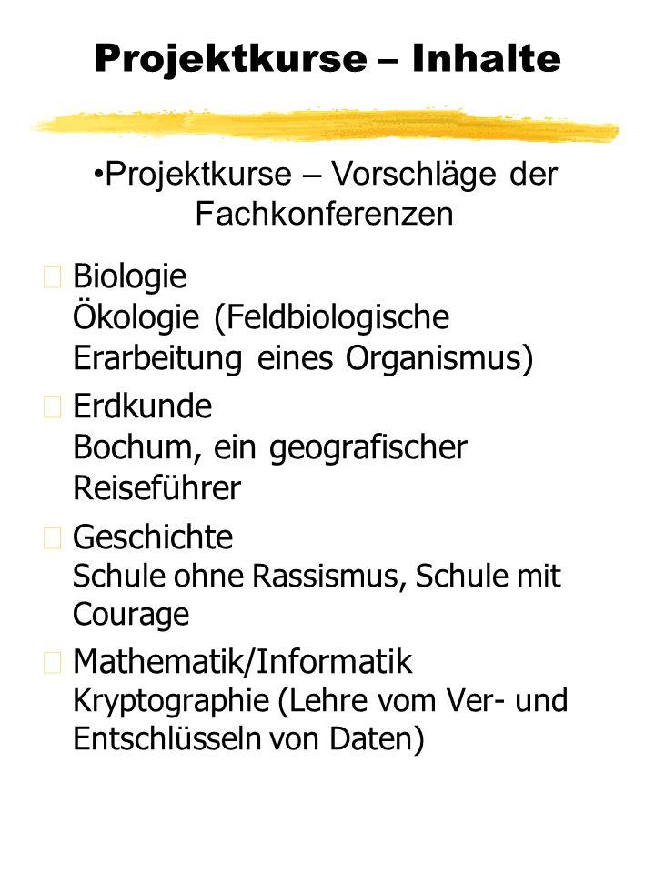 Projektkurse – Inhalte z Biologie Ökologie (Feldbiologische Erarbeitung eines Organismus) z Erdkunde Bochum, ein geografischer Reiseführer z Geschicht