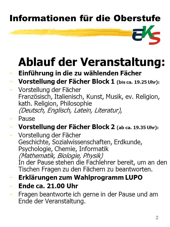 2 Informationen für die Oberstufe Ablauf der Veranstaltung: -Einführung in die zu wählenden Fächer -Vorstellung der Fächer Block 1 (bis ca. 19.25 Uhr)