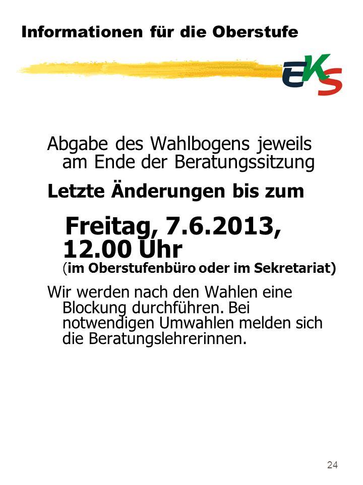 Informationen für die Oberstufe Abgabe des Wahlbogens jeweils am Ende der Beratungssitzung Letzte Änderungen bis zum Freitag, 7.6.2013, 12.00 Uhr (im