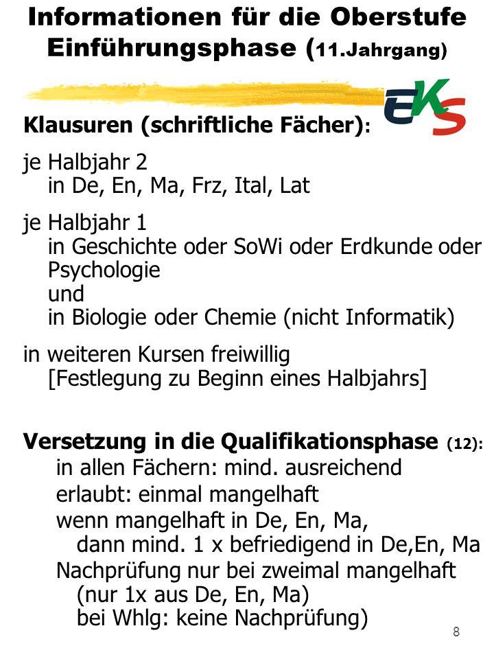 8 Informationen für die Oberstufe Einführungsphase ( 11.Jahrgang) Klausuren (schriftliche Fächer) : je Halbjahr 2 in De, En, Ma, Frz, Ital, Lat je Hal