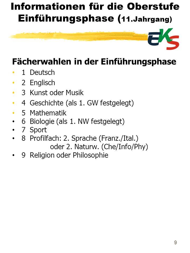 9 Informationen für die Oberstufe Einführungsphase ( 11.Jahrgang) Fächerwahlen in der Einführungsphase 1 Deutsch 2 Englisch 3 Kunst oder Musik 4 Gesch