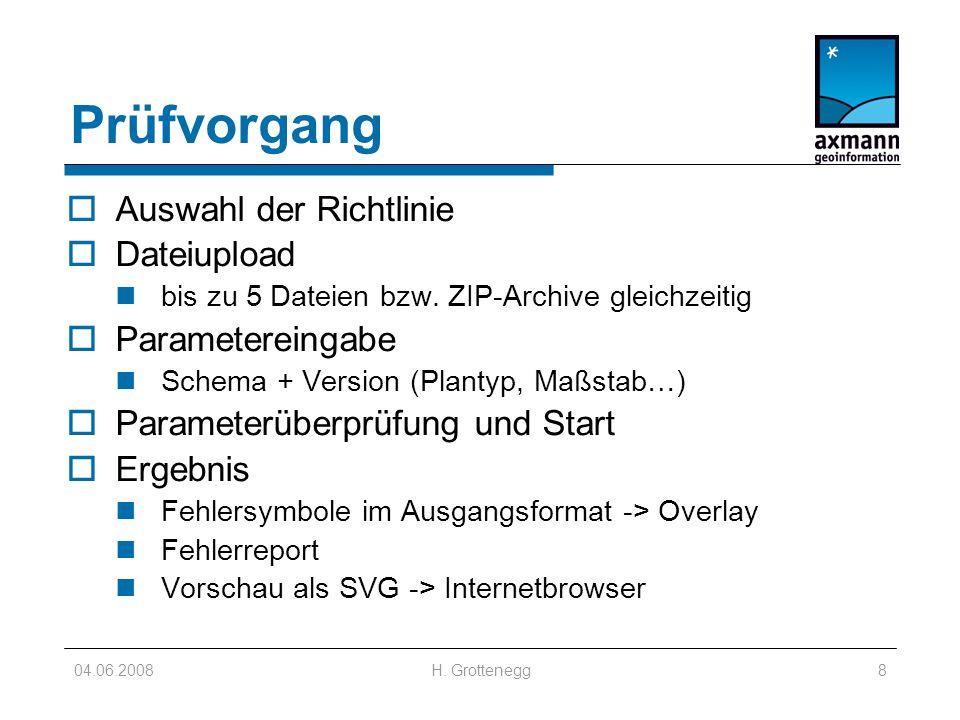04.06.2008H. Grottenegg8 Prüfvorgang Auswahl der Richtlinie Dateiupload bis zu 5 Dateien bzw.