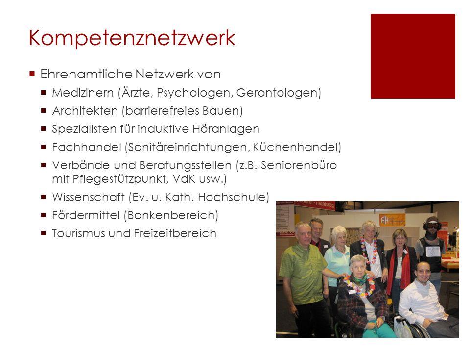Kompetenznetzwerk Ehrenamtliche Netzwerk von Medizinern (Ärzte, Psychologen, Gerontologen) Architekten (barrierefreies Bauen) Spezialisten für indukti