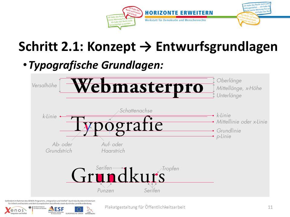 Plakatgestaltung für Öffentlichkeitsarbeit11 Typografische Grundlagen: Schritt 2.1: Konzept Entwurfsgrundlagen