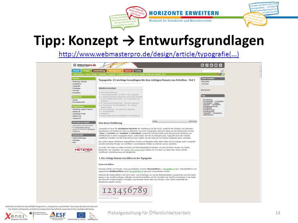 Plakatgestaltung für Öffentlichkeitsarbeit14 http://www.webmasterpro.de/design/article/typografie(...) Tipp: Konzept Entwurfsgrundlagen