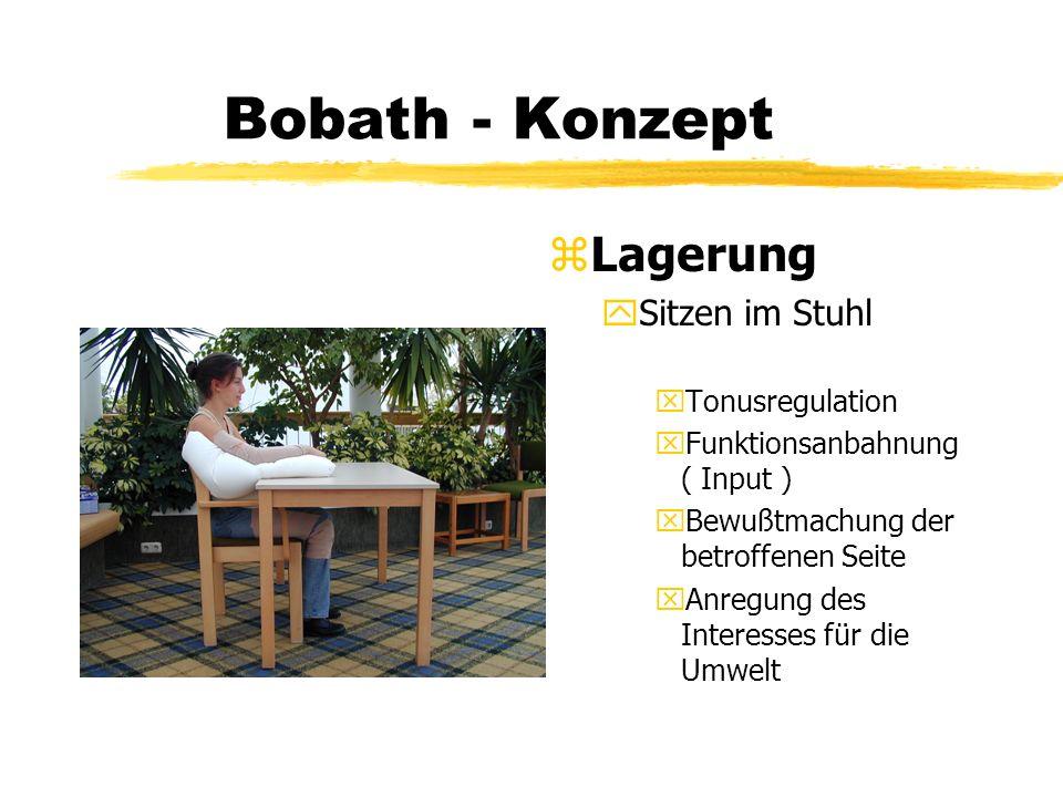 Bobath - Konzept z Lagerung ySitzen im Stuhl xTonusregulation xFunktionsanbahnung ( Input ) xBewußtmachung der betroffenen Seite xAnregung des Interes