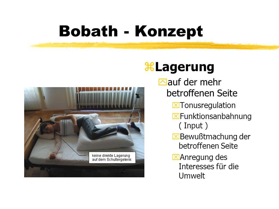 Bobath - Konzept z Lagerung yauf der mehr betroffenen Seite xTonusregulation xFunktionsanbahnung ( Input ) xBewußtmachung der betroffenen Seite xAnreg