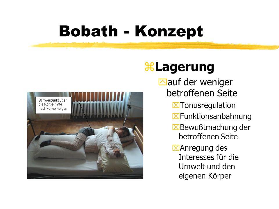 Bobath - Konzept z Lagerung yauf der weniger betroffenen Seite xTonusregulation xFunktionsanbahnung xBewußtmachung der betroffenen Seite xAnregung des