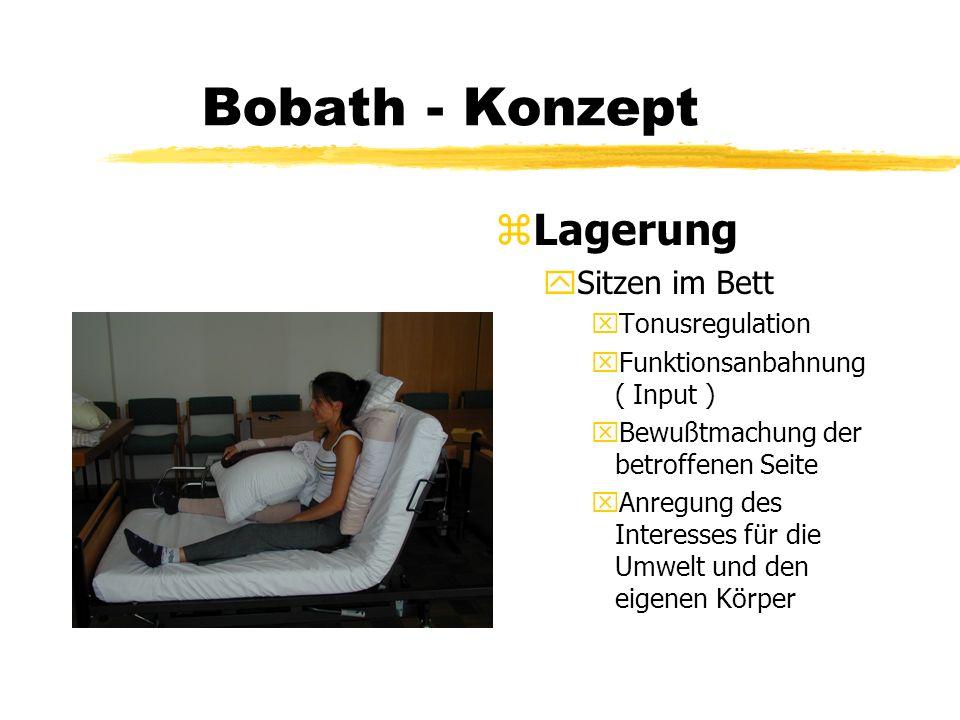 Bobath - Konzept z Lagerung ySitzen im Bett xTonusregulation xFunktionsanbahnung ( Input ) xBewußtmachung der betroffenen Seite xAnregung des Interess