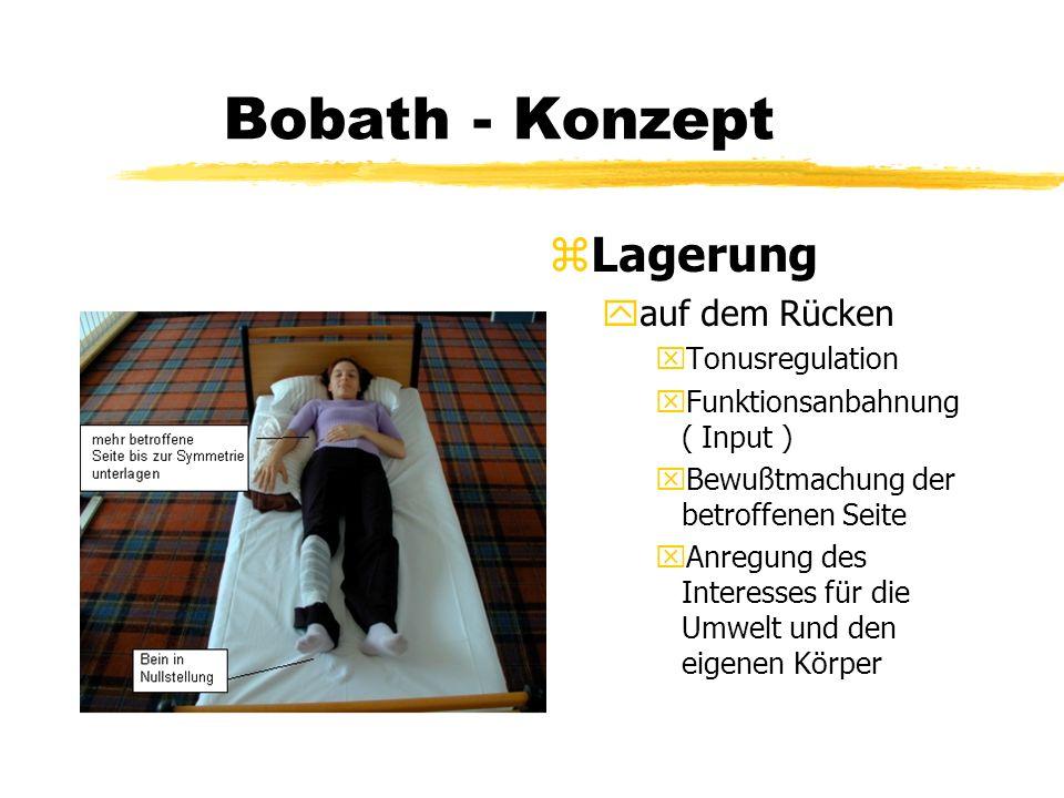 Bobath - Konzept z Lagerung yauf dem Rücken xTonusregulation xFunktionsanbahnung ( Input ) xBewußtmachung der betroffenen Seite xAnregung des Interess