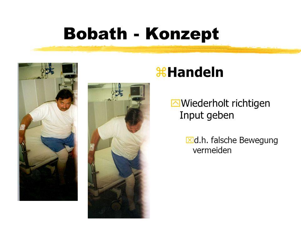 Bobath - Konzept z Handeln yWiederholt richtigen Input geben xd.h. falsche Bewegung vermeiden