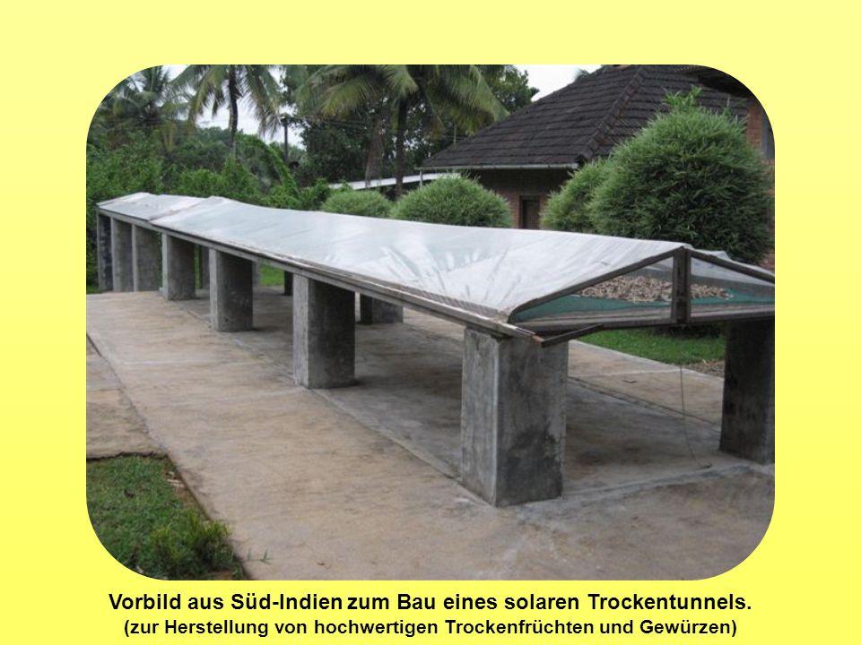 Vorbild aus Süd-Indien zum Bau eines solaren Trockentunnels. (zur Herstellung von hochwertigen Trockenfrüchten und Gewürzen)