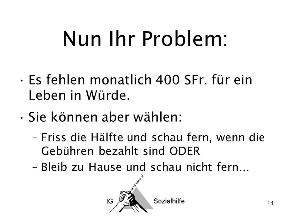 14 Nun Ihr Problem: Es fehlen monatlich 400 SFr. für ein Leben in Würde.