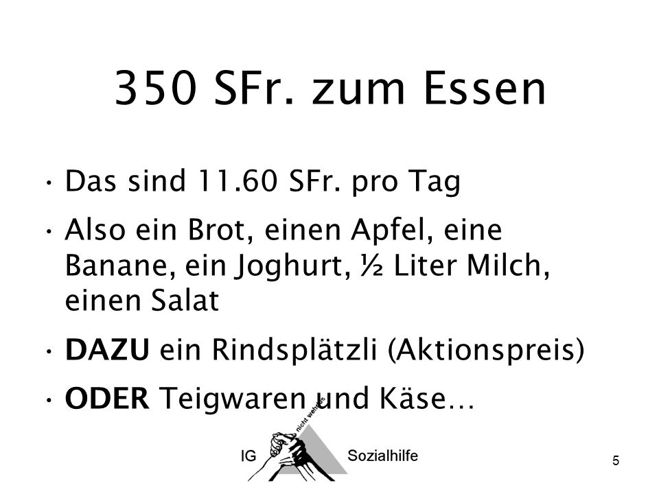 5 350 SFr. zum Essen Das sind 11.60 SFr.