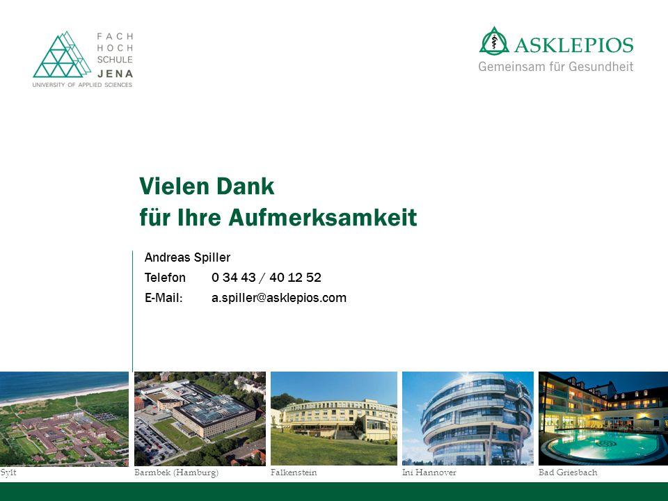 SyltBad GriesbachBarmbek (Hamburg)FalkensteinIni Hannover Vielen Dank für Ihre Aufmerksamkeit Andreas Spiller Telefon0 34 43 / 40 12 52 E-Mail: a.spil