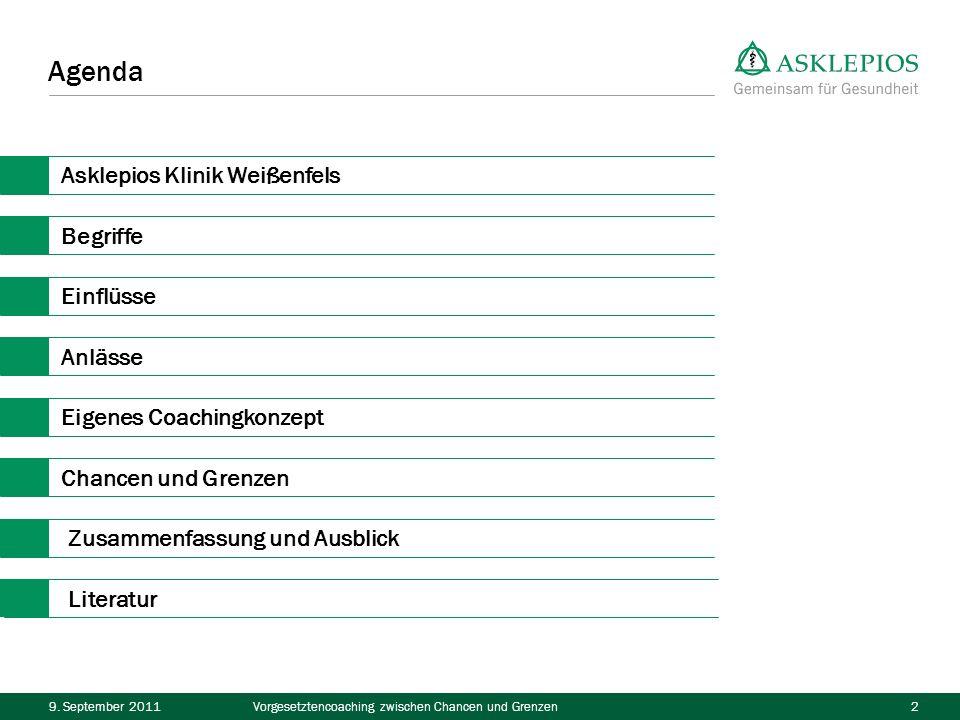 9. September 2011Vorgesetztencoaching zwischen Chancen und Grenzen2 Agenda Asklepios Klinik Weißenfels Begriffe Einflüsse Anlässe Eigenes Coachingkonz