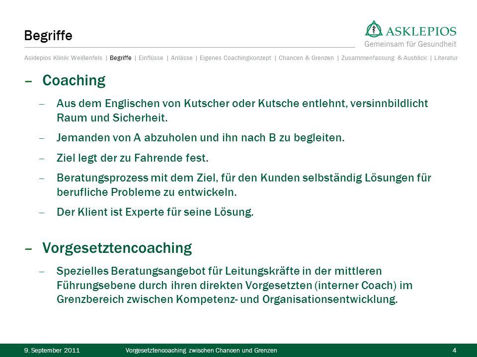 9. September 2011Vorgesetztencoaching zwischen Chancen und Grenzen4 Begriffe – Coaching – Aus dem Englischen von Kutscher oder Kutsche entlehnt, versi