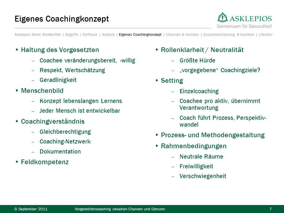 9. September 2011Vorgesetztencoaching zwischen Chancen und Grenzen7 Haltung des Vorgesetzten – Coachee veränderungsbereit, -willig – Respekt, Wertschä
