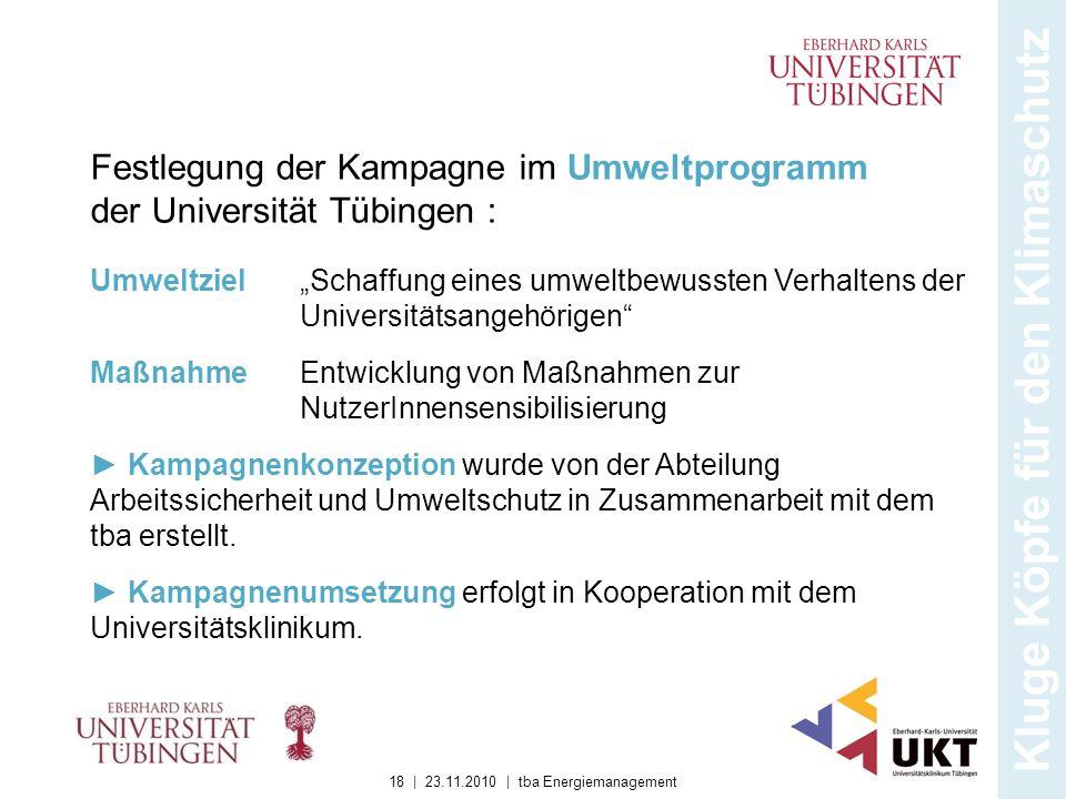 Kluge Köpfe für den Klimaschutz Festlegung der Kampagne im Umweltprogramm der Universität Tübingen : Schaffung eines umweltbewussten Verhaltens der Un