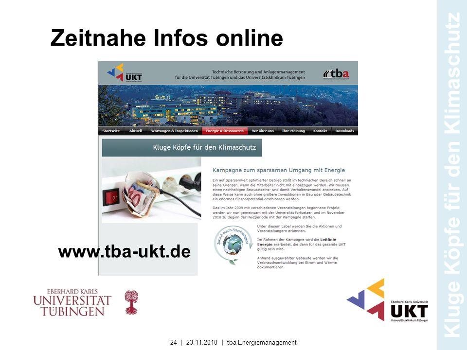 Zeitnahe Infos online www.tba-ukt.de Kluge Köpfe für den Klimaschutz 24 | 23.11.2010 | tba Energiemanagement