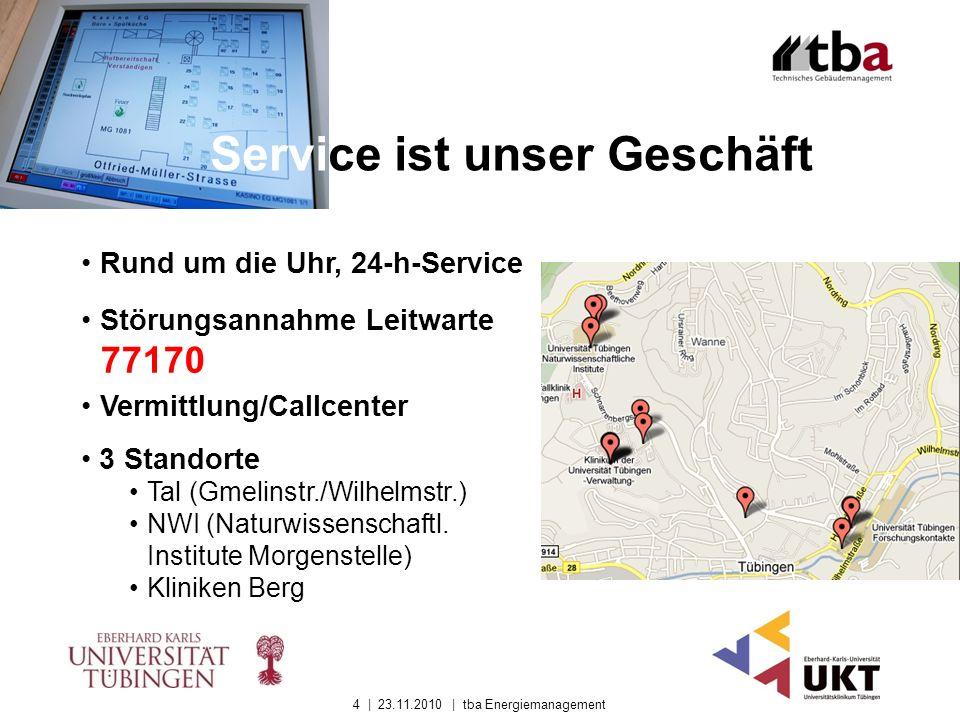 Service ist unser Geschäft Rund um die Uhr, 24-h-Service 3 Standorte Tal (Gmelinstr./Wilhelmstr.) NWI (Naturwissenschaftl. Institute Morgenstelle) Kli
