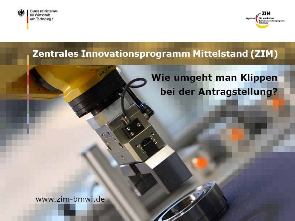 www.zim-bmwi.de Zentrales Innovationsprogramm Mittelstand (ZIM) Wie umgeht man Klippen bei der Antragstellung?