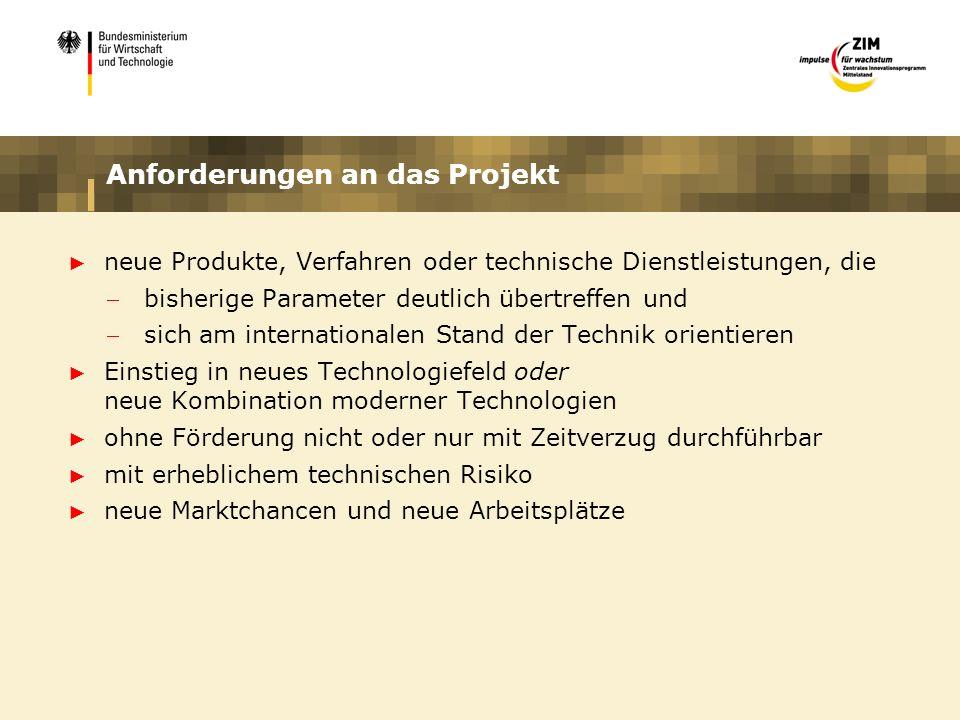 Anforderungen an das Projekt neue Produkte, Verfahren oder technische Dienstleistungen, die bisherige Parameter deutlich übertreffen und sich am inter