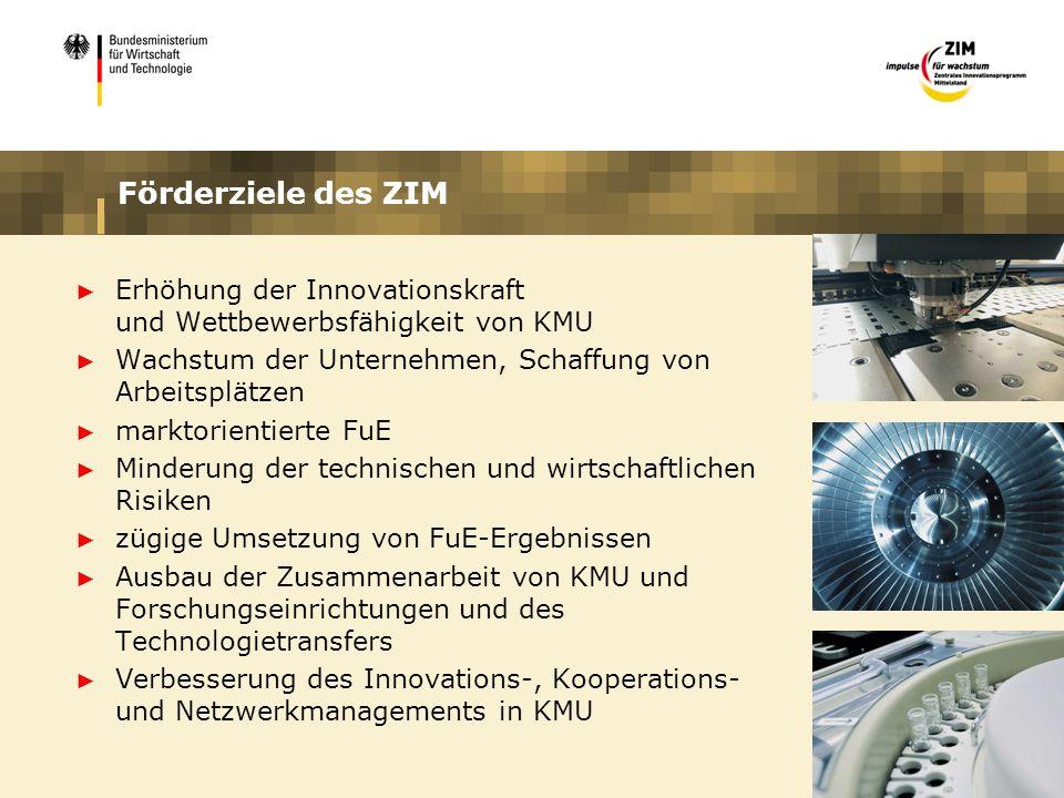 Förderziele des ZIM Erhöhung der Innovationskraft und Wettbewerbsfähigkeit von KMU Wachstum der Unternehmen, Schaffung von Arbeitsplätzen marktorienti