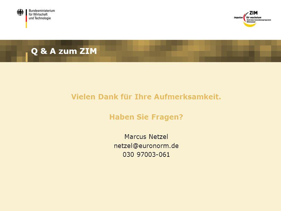 Q & A zum ZIM Vielen Dank für Ihre Aufmerksamkeit. Haben Sie Fragen? Marcus Netzel netzel@euronorm.de 030 97003-061