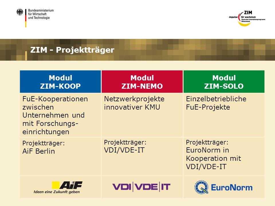 ZIM - Projektträger Modul ZIM-KOOP Modul ZIM-NEMO Modul ZIM-SOLO FuE-Kooperationen zwischen Unternehmen und mit Forschungs- einrichtungen Netzwerkprojekte innovativer KMU Einzelbetriebliche FuE-Projekte Projektträger: AiF Berlin Projektträger: VDI/VDE-IT Projektträger: EuroNorm in Kooperation mit VDI/VDE-IT