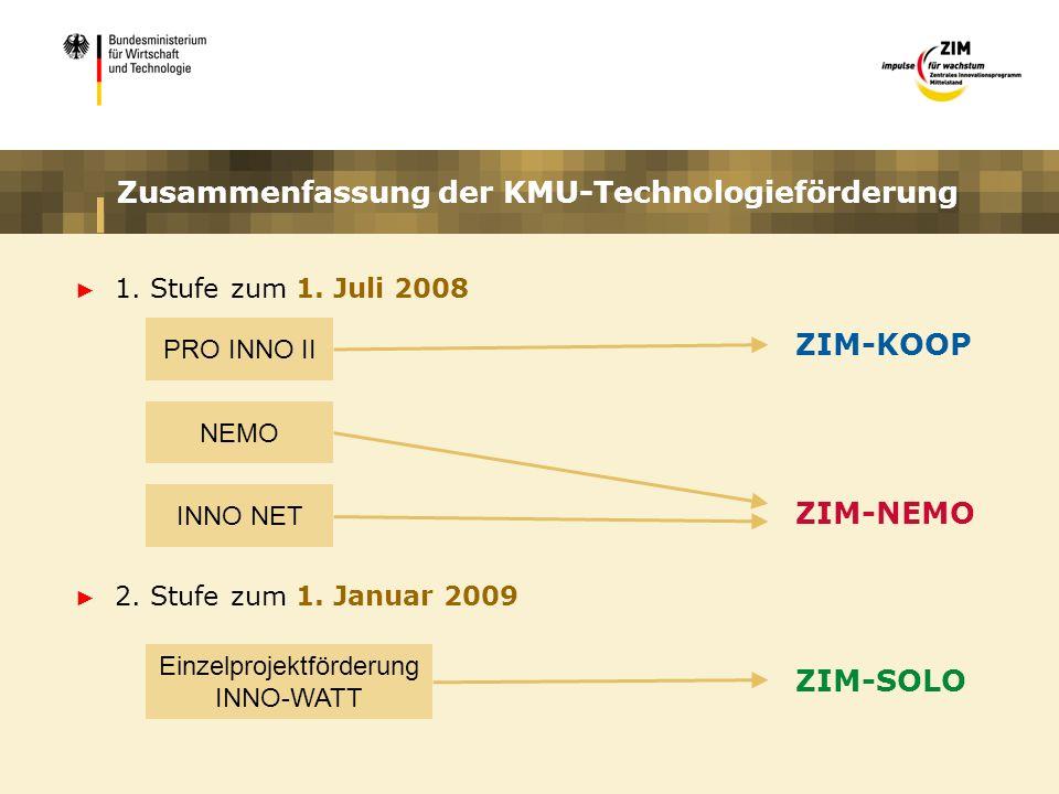 Zusammenfassung der KMU-Technologieförderung 1. Stufe zum 1. Juli 2008 2. Stufe zum 1. Januar 2009 PRO INNO II NEMO INNO NET Einzelprojektförderung IN