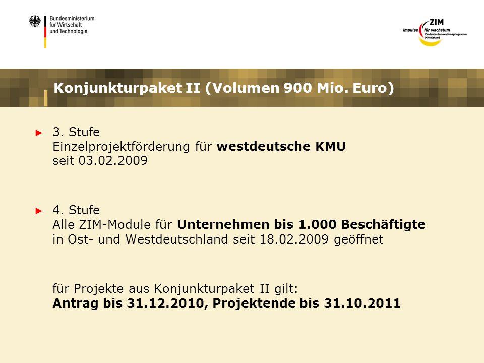 Konjunkturpaket II (Volumen 900 Mio. Euro) 3. Stufe Einzelprojektförderung für westdeutsche KMU seit 03.02.2009 4. Stufe Alle ZIM-Module für Unternehm