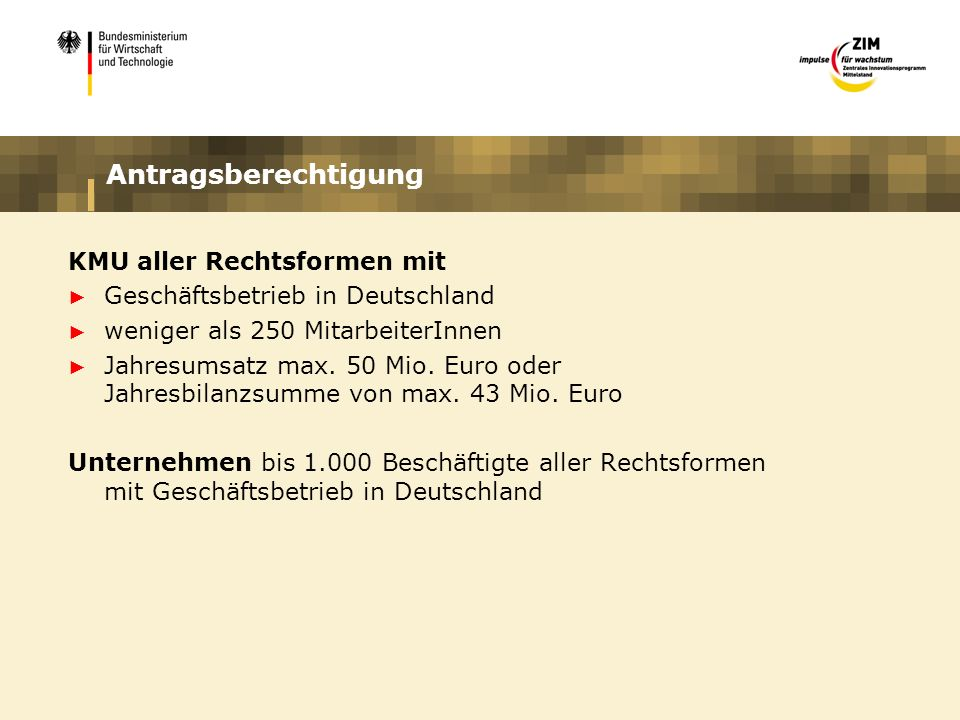 Antragsberechtigung KMU aller Rechtsformen mit Geschäftsbetrieb in Deutschland weniger als 250 MitarbeiterInnen Jahresumsatz max. 50 Mio. Euro oder Ja