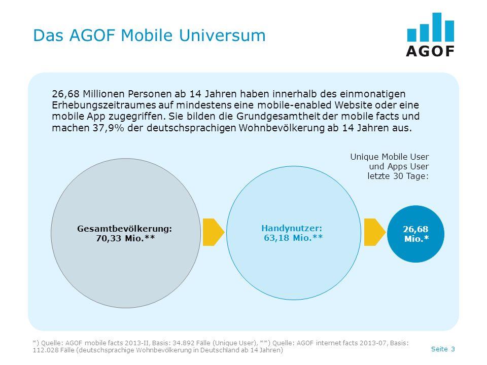 Seite 4 Nutzer des AGOF Mobile Universums Basis: 34.892 Fälle (Unique User) Quelle: AGOF mobile facts 2013-II Keine Nutzung AGOF Angebote: 28,7% 7,67 Mio.
