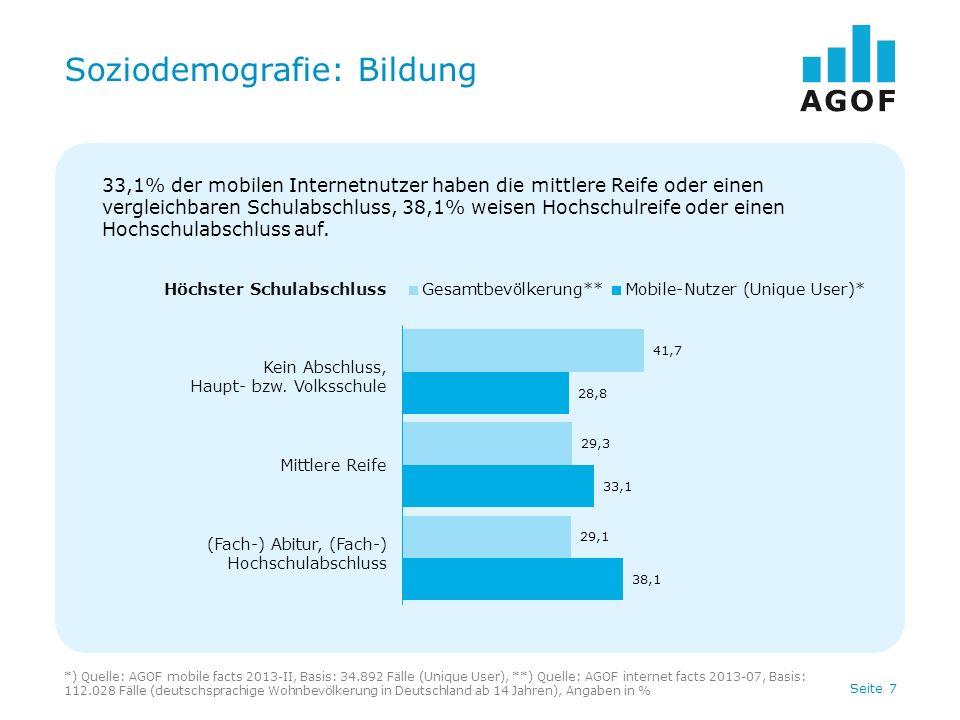 Seite 8 Soziodemografie: Tätigkeit *) Quelle: AGOF mobile facts 2013-II, Basis: 34.892 Fälle (Unique User), **) Quelle: AGOF internet facts 2013-07, Basis: 112.028 Fälle (deutschsprachige Wohnbevölkerung in Deutschland ab 14 Jahren), Angaben in % Tätigkeit In Ausbildung Berufstätig Rentner, Pensionär/Nicht berufstätig 17,0% der mobilen Internetnutzer sind Schüler, Studenten oder befinden sich in der Ausbildung, 68,9% sind berufstätig.