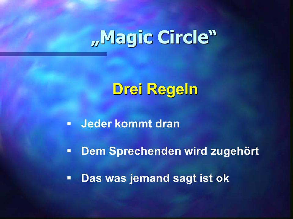 Magic Circle Drei Regeln Jeder kommt dran Dem Sprechenden wird zugehört Das was jemand sagt ist ok