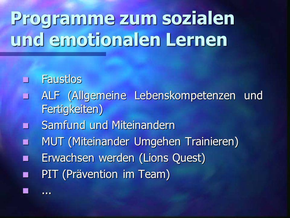 Programme zum sozialen und emotionalen Lernen Faustlos Faustlos ALF (Allgemeine Lebenskompetenzen und Fertigkeiten) ALF (Allgemeine Lebenskompetenzen