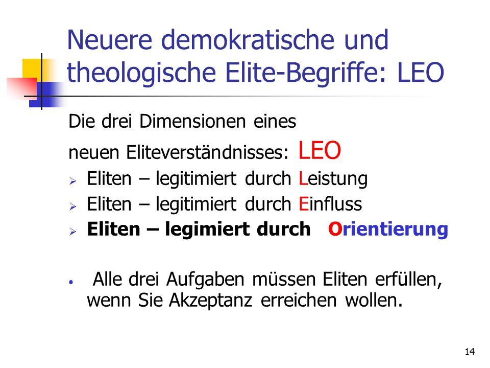 14 Neuere demokratische und theologische Elite-Begriffe: LEO Die drei Dimensionen eines neuen Eliteverständnisses: LEO Eliten – legitimiert durch Leis