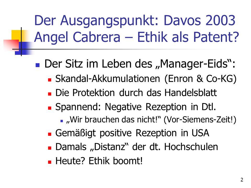 2 Der Ausgangspunkt: Davos 2003 Angel Cabrera – Ethik als Patent? Der Sitz im Leben des Manager-Eids: Skandal-Akkumulationen (Enron & Co-KG) Die Prote